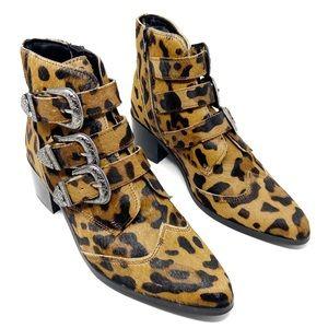 ASOS Relieve Leopard Calf Hair Ankle Boots sz 8